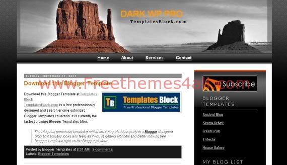 Free Blogger Template - Dark WP Pro