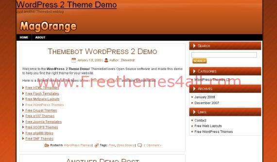 Free Orange Black White Magazine WordPress Theme