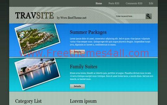 TravSite Hotels Booking Blogger Template