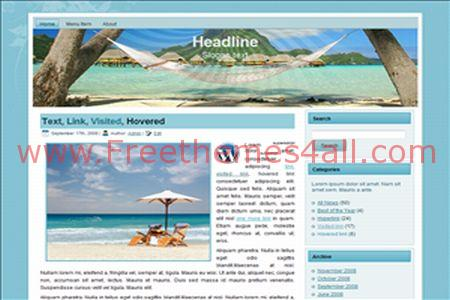 Free WordPress Blue Travel Land Web2.0 Theme