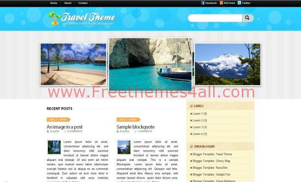 Jquery Travel Blue Blogger Template Theme