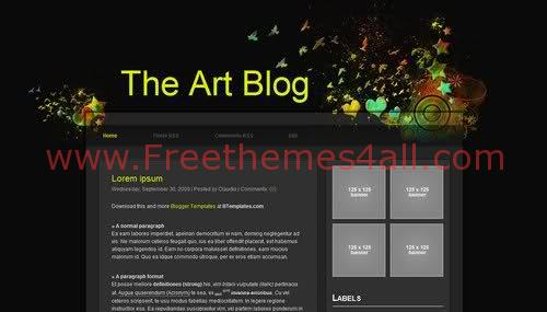 Free Blogger Dark Art Blog Web2.0 Template