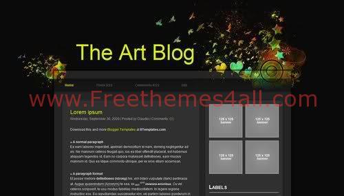 Free Blogger Dark Art Blog Web2.0 Template