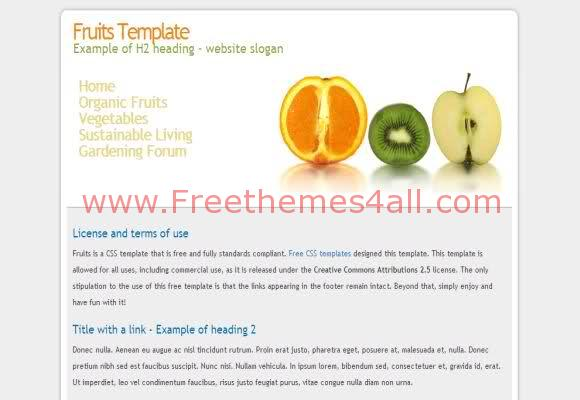Free CSS Fresh Fruits Web2.0 Website Template