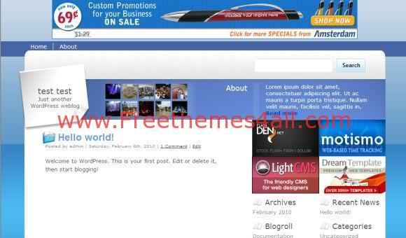 Free WordPress Blue Blog Theme