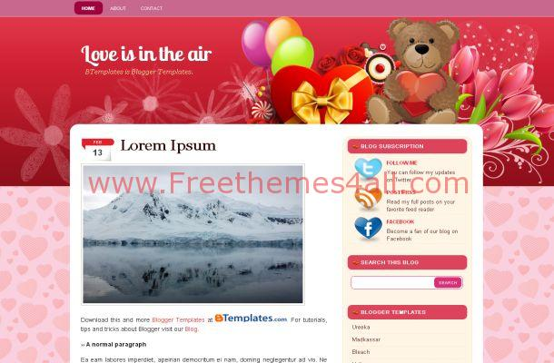 Pink Hearts Free Blogger Theme
