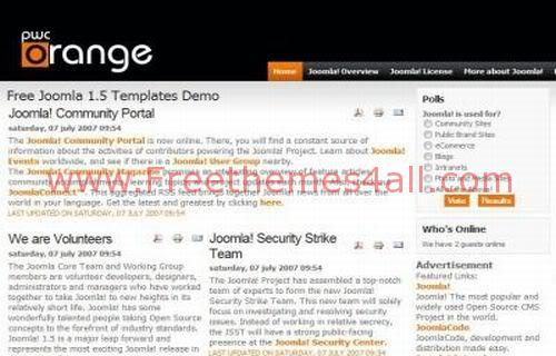 Free Joomla Orange and Black Business Web2.0 Template