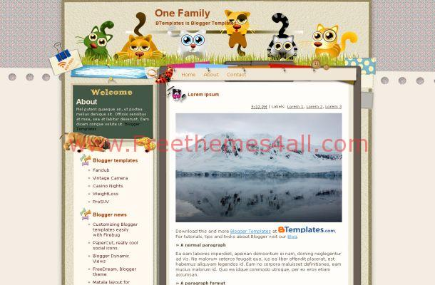 Free Blogger Cats Pets Brown Theme Template