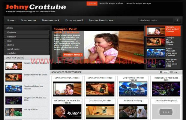 Free Dark Black Videos Blogger Template Freethemes4all