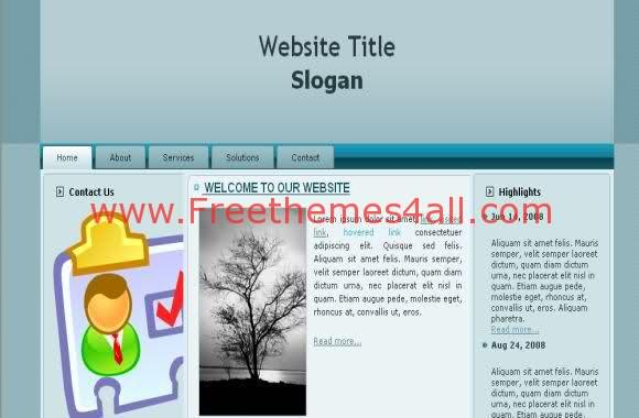 Free CSS Blue Personal Blog Web2.0 Template