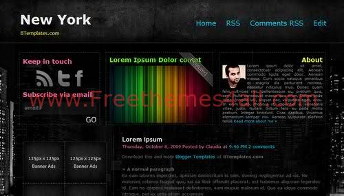 Free Blogger Business Portfolio Black Web2.0 Template