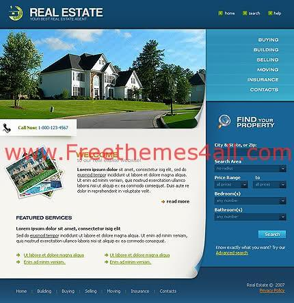 Free Flash CSS HTML Real Estate Template