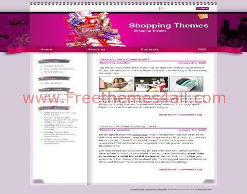 Free WordPress Shopping Pink White Web2.0 Theme Template