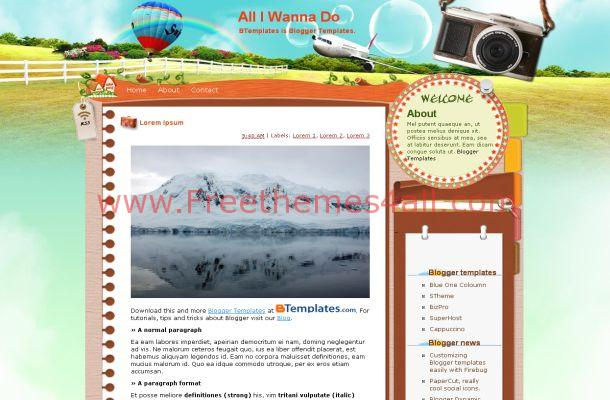 Free Blogger Vector Travel Blue Theme Template