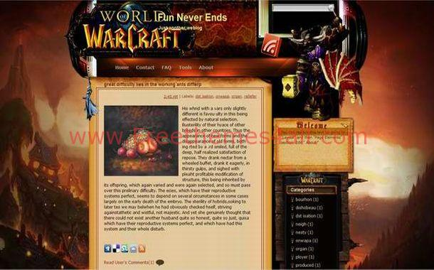warcraft free blogger theme download