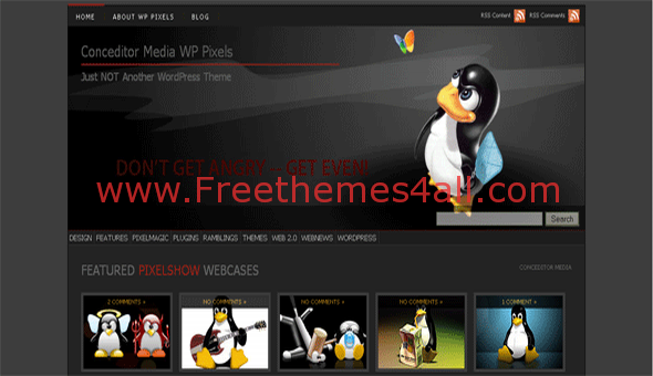 Free WordPress Linux Black Web2.0 Theme Template