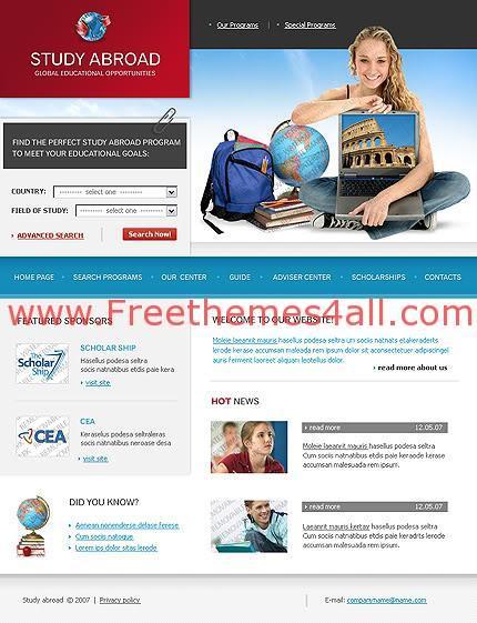 Free Web Schools, College and Studies Website Template
