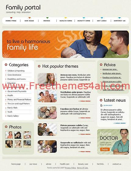 Free Flash Animated Family Portal Template