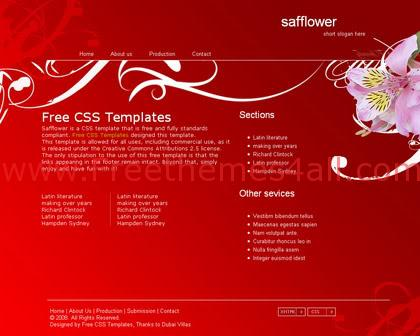 Free CSS Safflowers Red Nature Website Template