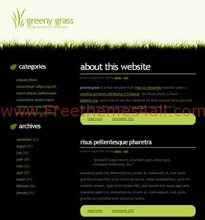 Free CSS Dark Black Green Grass Template