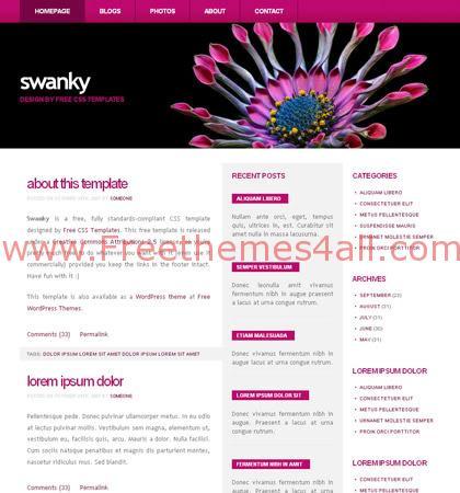 Free CSS Dark Violet Flower Web2.0 Template