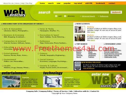 Free Web Directory Business Green Template