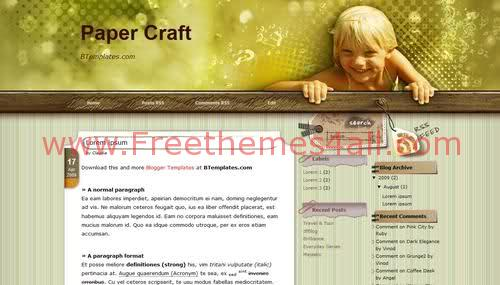 Free Blogger Kids Green Photography Web2.0 Template