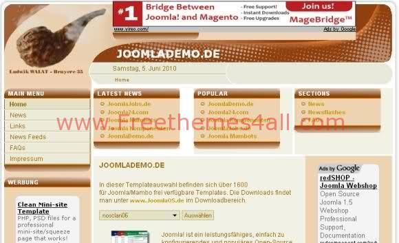 Free Joomla Tabacos Brown Web2.0 Template