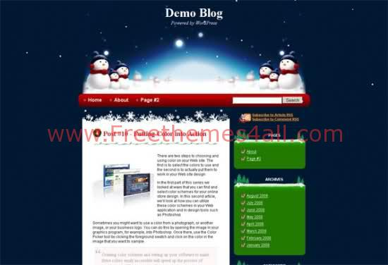 Free WordPress Blue Christmas Web2.0 Theme Template