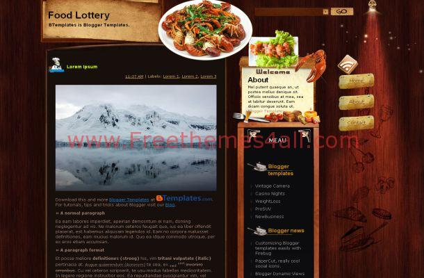 Wooden Restaurant Blogger Theme