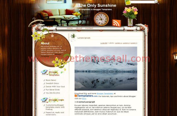 Wooden Floral Free Blogger Theme