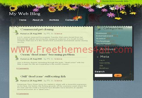Free WordPress Nature Flowers Web2.0 Theme Template