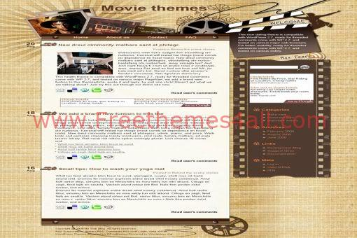 Free WordPress Movies Theater Brown Web2.0 Theme Template