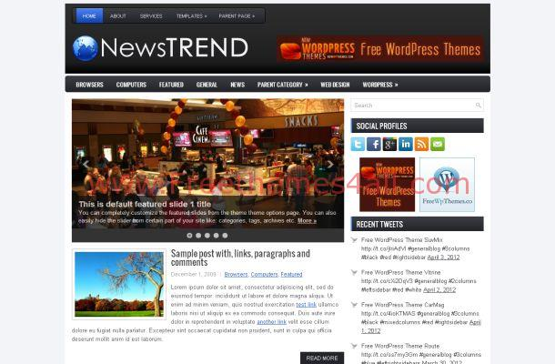 Free WordPress Dark Grey News Theme Template