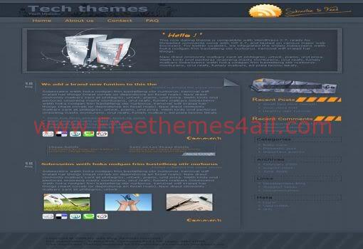 Free WordPress Bleu High Technology Web2.0 Theme Template