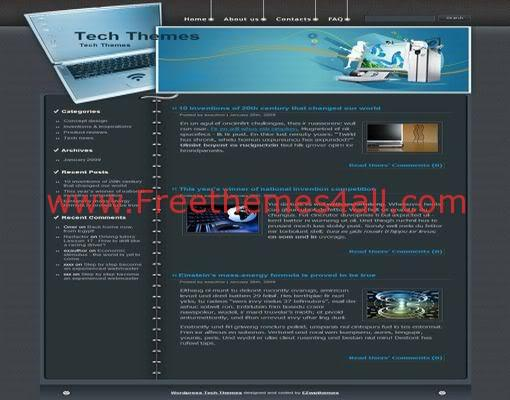 Free WordPress Dark Gray Computers Web2.0 Theme