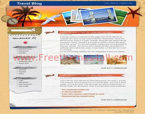 Free WordPress Tropical Beach Travel Web2.0 Theme Template