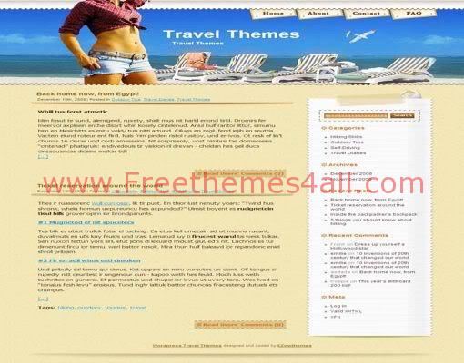 Free WordPress Sexy Beach Travel Web2.0 Theme