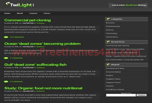 Free WordPress Grey Twilight Web2.0 Theme Template