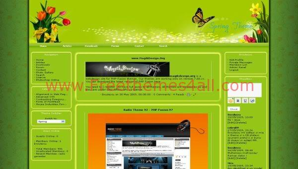Free php-fusion Butterfly Garden Web2.0 Theme Template