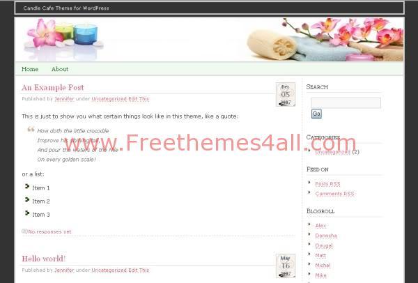Free WordPress Candle Decor Web2.0 Theme Template