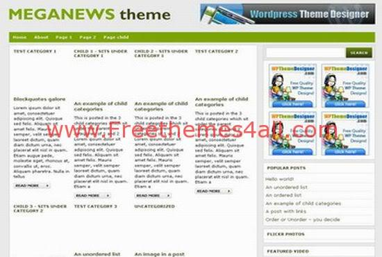 Free WordPress Mega News Green Web2.0 Theme Template