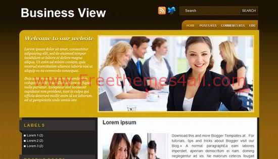 Free Blogger Business Brown Yellow Template