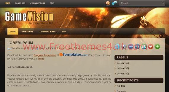 Free Blogger Black Games Vision Blog Template