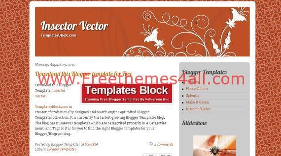 Free Blogger Insector Vector Orange Red Template