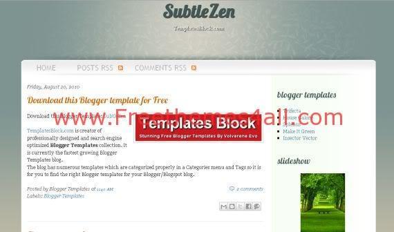 Free Blogger SubtleZen White Green Template