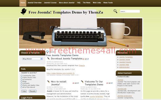 Free Brown Green Blog Joomla Theme Template