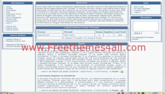 Free php-fusion Bleu White Tweak Web2.0 Theme Template