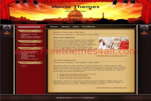 Free WordPress Movies Films Red Web2.0 Theme Template