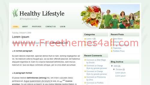 Free Blogger Healthy Food Life Web2.0 Template